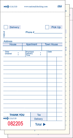 110SW Restaurant delivery forms, Carbonless 3 part, white, 14 ...