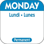 P101- DateIt™ Food Safety 1 Inch Square Trilingual Permanent Restaurant Food Rotation Labels - Monday
