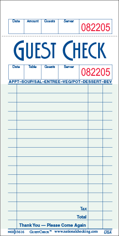 Single Copy Paper Guest Checks