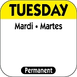 P102- DateIt™ Food Safety 1 Inch Square Trilingual Permanent Restaurant Food Rotation Labels - Tuesday