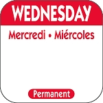 P103- DateIt™ Food Safety 1 Inch Square Trilingual Permanent Restaurant Food Rotation Labels - Wednesday