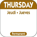 P104- DateIt™ Food Safety 1 Inch Square Trilingual Permanent Restaurant Food Rotation Labels -Thursday