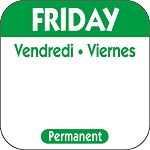 P105- DateIt™ Food Safety 1 Inch Square Trilingual Permanent Restaurant Food Rotation Labels -Friday