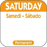 P106- DateIt™ Food Safety 1 Inch Square Trilingual Permanent Restaurant Food Rotation Labels -Saturday
