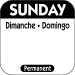 P107- DateIt™ Food Safety 1 Inch Square Trilingual Permanent Restaurant Food Rotation Labels -Sunday