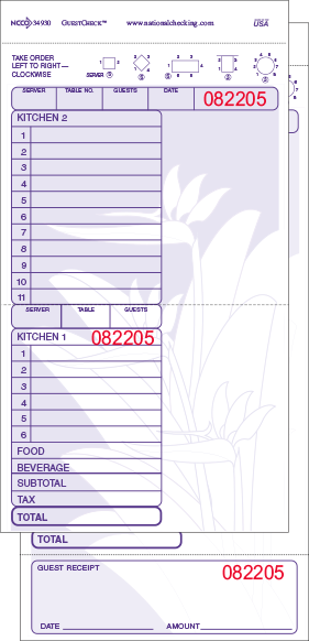 34930 Mahalo Hawaiian Theme Purple Large 17 Line Two-Part Carbonless National Checking Company Restaurant Guest Checks with Beverage Backer, Tear off Receipts and Split Top Copy in Books of 50