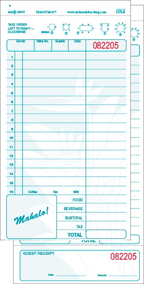 34997 Mahalo Hawaiian Theme Aqua Large 15 Line Two-Part Carbonless National Checking Company Restaurant Guest Checks with Beverage Backer, Tear off Receipts, Loose