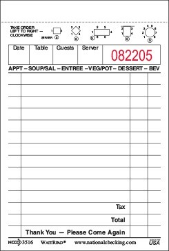 Waiter Pad 3516SP 10,000 single copy white checks from National Checking Company Shrink Wrapped