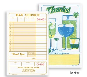 4651 - 1 Part Bar Guest Check for Restaurants