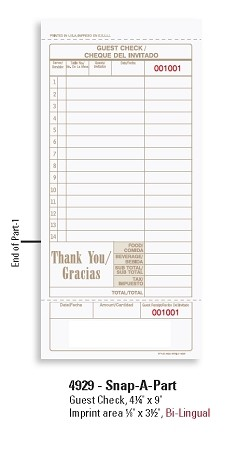 4929 - 2  part Restaurant Guest Checks, Bi-Lingual with guest receipt