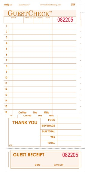 620SP 2 Part Large 16 Line Tan Carbonless National Checking Company Restaurant Guest Checks with Beverage Backer and Tear off Receipt, Shrink Wrapped