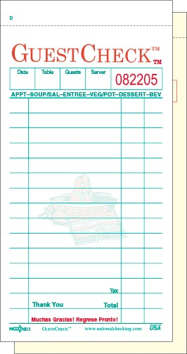 803SP Spanish Themed Restaurant GuestChecks™ Medium 15 Line Two-Part National Checking  Numbered Receipt Stubs, lines for Tax and Total
