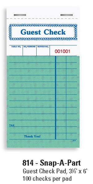"814- 1 part Pegasus Ventures Guest Checks Pad, 3 3/8"" x 6"" 100 checks per pad"