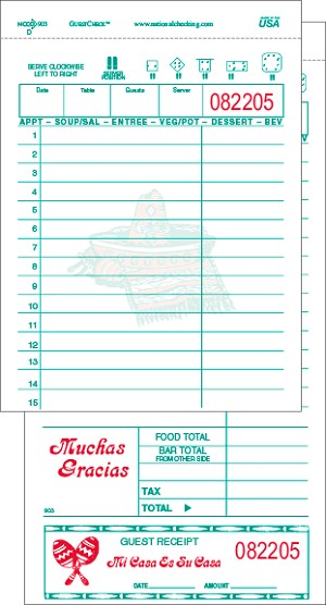 903SP Spanish Themed White Large Duplicate Carbon-backed National Checking Restaurant Guest Checks with Lines for Bar and Food Totals, 15 Lines, Shrink Wrapped