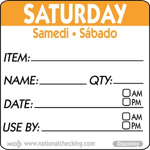 "DIDU2206 DateIt™ Food Safety  2"" x 2"" Item/Date/Use By Dissolving Labels- Saturday"