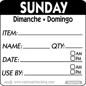 "DIDU2207 DateIt™ Food Safety  2"" x 2"" Item/Date/Use By Dissolving Labels- Sunday"