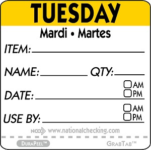 "DPIDU2202- DateIt™ Food Safety 2"" x 2"" Item/Date/Use By DuraPeel™ Labels- Tuesday"