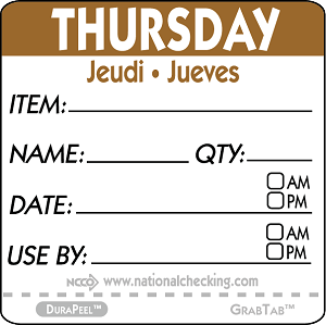 "DPIDU2204- DateIt™ Food Safety 2"" x 2"" Item/Date/Use By DuraPeel™ Labels- Thursday"