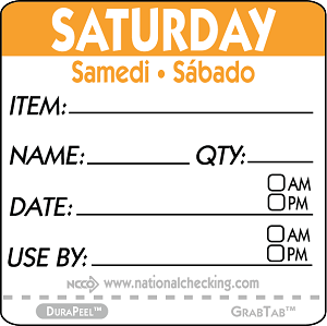"DPIDU2206- DateIt™ Food Safety 2"" x 2"" Item/Date/Use By DuraPeel™ Labels- Saturday"