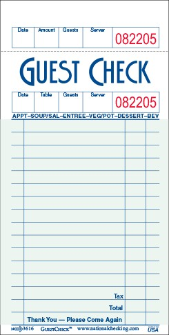 G3632SP Medium Single Copy Cardboard Guest Checks, 15, Line 1 Part, Green National Checking Company