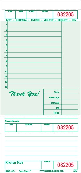 G4974 Large Single Copy Cardboard Guest Checks, 13 Lines, 1 Part, Green National Checking Company, Bulk Packed