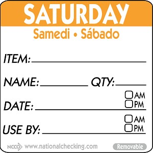 "RIDU2206- DateIt™ Food Safety 2"" x 2"" Trilingual Item/Date/Use By Removable Food Rotation Labels- Saturday"