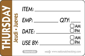 "RIDU2304- DateIt™ Food Safety 2"" x 3"" Trilingual Item/Date/Use By/Employee/Quantity Removable Food Rotation Labels- Thursday"