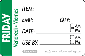 "RIDU2305- DateIt™ Food Safety 2"" x 3"" Trilingual Item/Date/Use By/Employee/Quantity Removable Food Rotation Labels- Friday"
