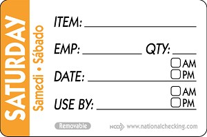 "RIDU2306- DateIt™ Food Safety 2"" x 3"" Trilingual Item/Date/Use By/Employee/Quantity Removable Food Rotation Labels- Saturday"