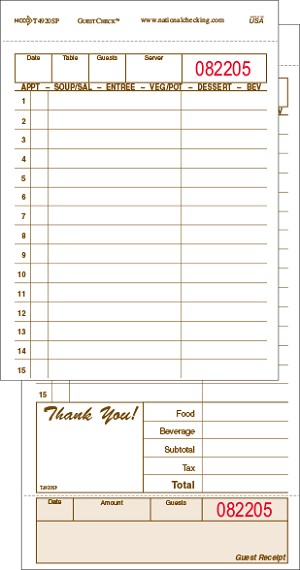T4920SP Large Tan Duplicate Carbon-Backed  Restaurant Guest Checks with 15 Lines for Bar and Food Totals, Tear off Receipt, Shrink Wrapped