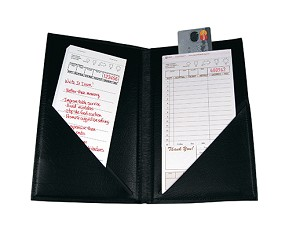"AL-75 Restaurant Guest Checks Presentation Folder 10"" Black Castilian"