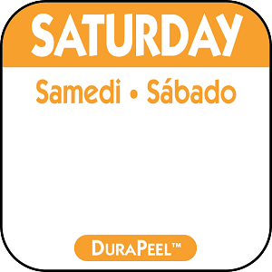 "DP106- DateIt™ Food Safety 1"" x 1"" DuraPeel™  Labels- Saturday"