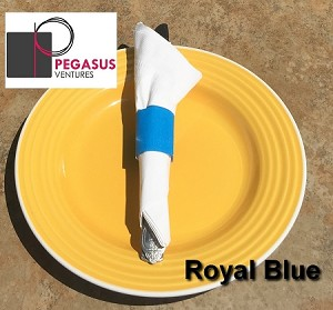 "Royal Blue restaurant napkin bands to wrap with paper napkins- 2,000 1.5"" x 4.25"""