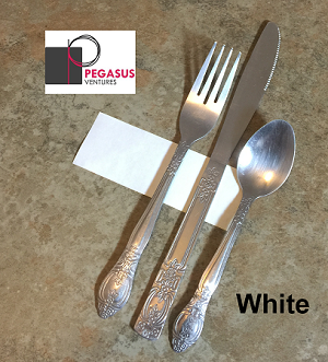 "White restaurant napkin bands to wrap with paper napkins- 2,000 1.5"" x 4.25"""