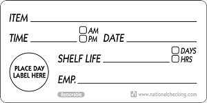 "RSL24- 2"" x 4"" Generic Shelf Life Removable Labels from National Checking and DateIt™ Food Safety"