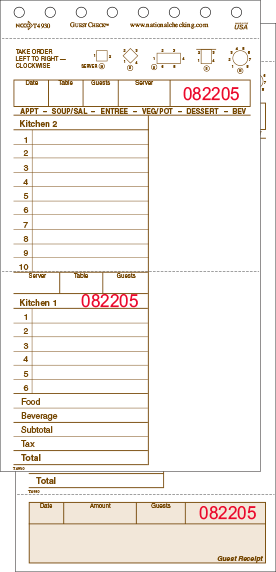 T4930 Tan Large 16 Line Two-Part Carbonless National Checking Company Restaurant Guest Checks with Beverage Backer, Tear off Receipts and Split Top Copy
