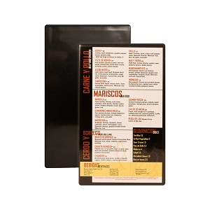 TUSCAN MENU BOARD Black, heat sealed hardboard with clear pockets on front and back. Perfect for a simple durable way to display your menu.